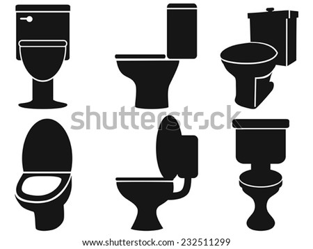 toilet silhouettes - stock vector
