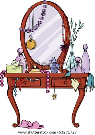 Toilet table with Mirror and many women's stuff - stock vector