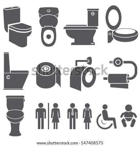 toilet vector set, toilet icons set - stock vector