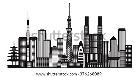Tokyo Japan City Skyline Panorama Black and White Silhouette Outline Vector Illustration - stock vector