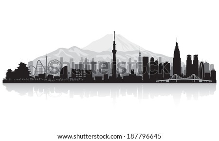 Tokyo Japan city skyline vector silhouette illustration - stock vector