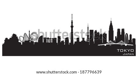 Tokyo Japan skyline Detailed vector silhouette - stock vector