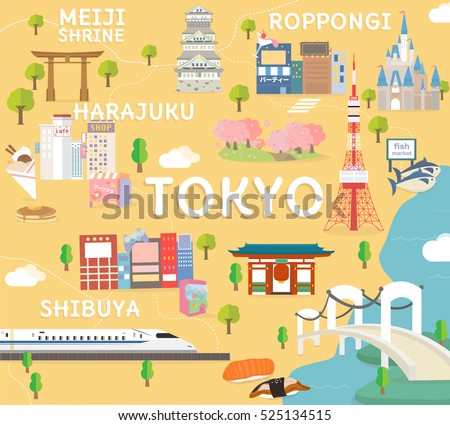Tokyo Travel Map In Flat Ilration
