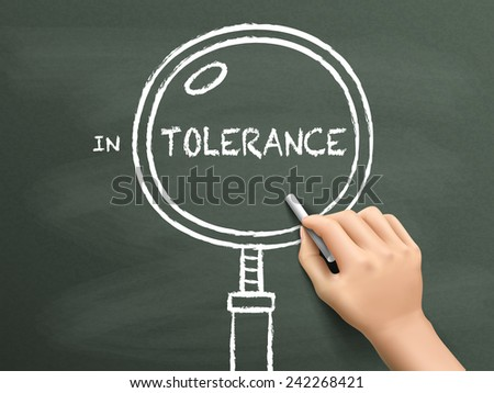 tolerance word with magnifying glass drawn by hand over chalkboard  - stock vector