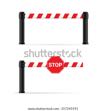 toll booth vector on road in colorful - stock vector