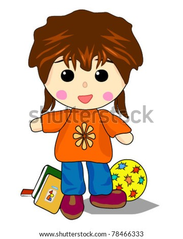 Tom girl playing and school - stock vector