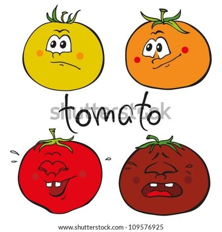 Tomato cartoon character set. Funny emotions - stock vector