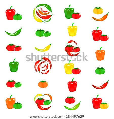 Tomato, chili pepper, paprika collection, isolated on white background, vector illustration. - stock vector