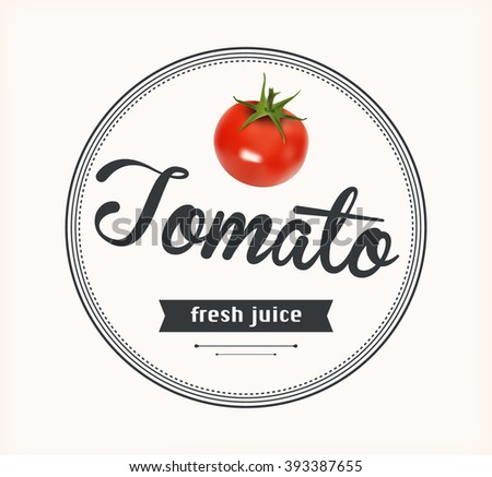 Tomato juice. Detailed Vector label. Series of food and drink.