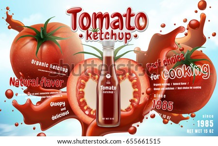 tomato ketchup ad with tomato elements and ketchup splash, 3d illustration