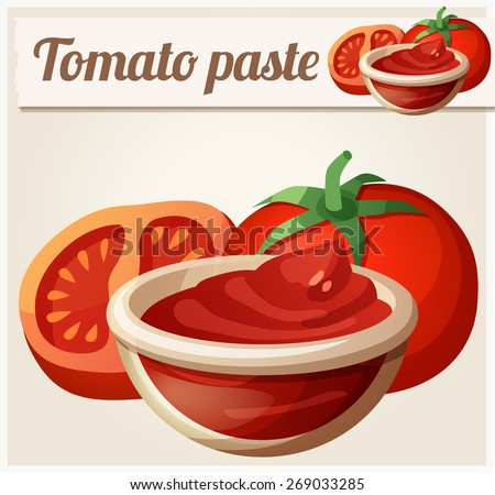 Tomato paste. Detailed Vector Icon. Series of food and drink and ingredients for cooking. - stock vector