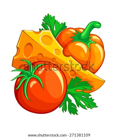 Tomato pepper vegetables and cheese with parsley. Eps10 vector illustration. Isolated on white background - stock vector