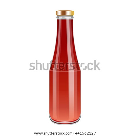Tomato sauce, Ketchup or Tomato Juice on Glass Bottle. Realistic beautiful jar.