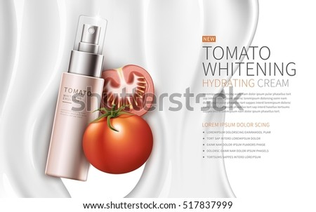 tomato whitening hydrating cream contained in pink spray bottle, white creamy background, 3d illustration