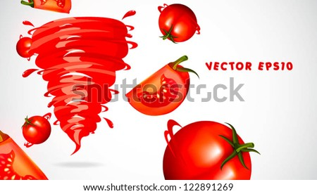 tomato with juicy twister - stock vector