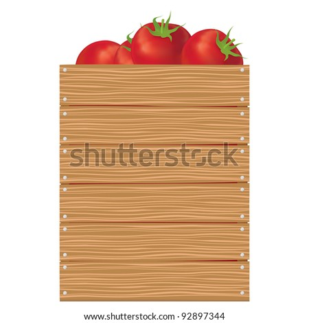 Tomatoes in wooden vertical box - stock vector