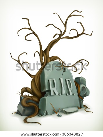 Tomb, rest in peace vector icon - stock vector