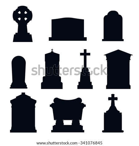 Tombs stone grave vector construction black and white icons. Vector tombs icons isolated. Tombs stone grave for dead people. Traditional tombs stone graves from different country. Tombs illustration - stock vector