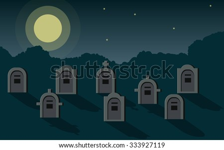 Tombstone and shadow in graveyard at night with moon light on sky backgrounds (flat icon design vector) - stock vector