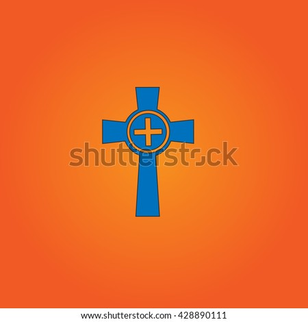 Tombstone - cross gravestone. Blue flat icon with black stroke on orange background. Collection concept vector pictogram for infographic project and logo - stock vector
