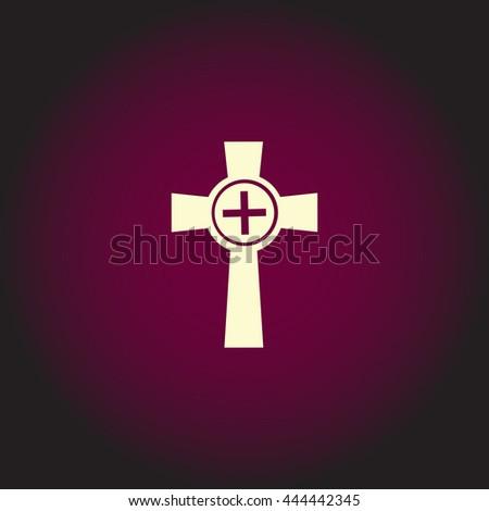Tombstone - cross gravestone. White vector icon on dark background. Flat pictogram - stock vector