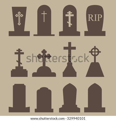 Tombstone, Grave Icon Set