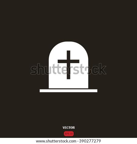 Tombstone vector icon. Grave icon. - stock vector