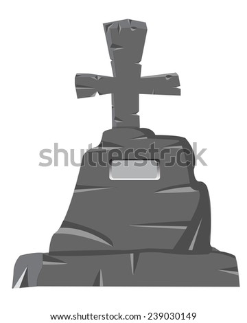 Tombstone with cross on white background is insulated - stock vector