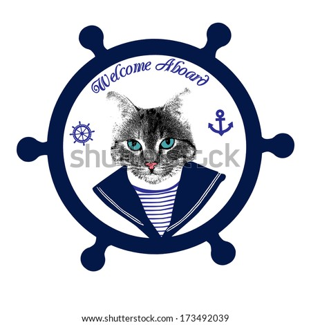 Tomcat sailor on steering wheel and the text welcome aboard, vector illustration - stock vector
