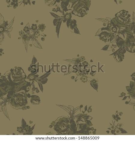 Tonal Seamless Roses Vector Pattern - stock vector