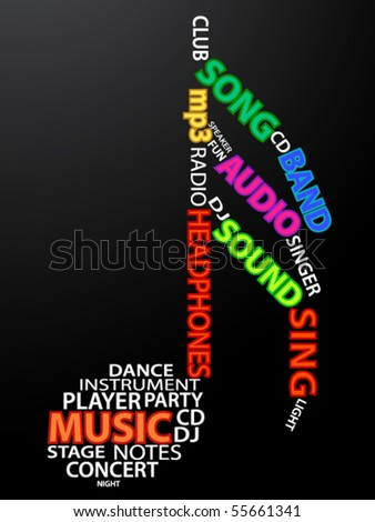 Tone made from words which relate with music on dark background - stock vector