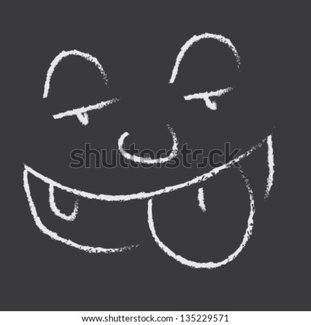 Tongue Out Icon Chalk Blackboard Illustration Vector - stock vector