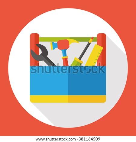 tool box flat icon - stock vector