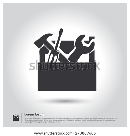 tool box Icon, toolbox symbol. Wrench, screwdriver and hammer. illustration for web, site, mobile application. Simple flat metro design style. Outline Icon. Flat design style - stock vector