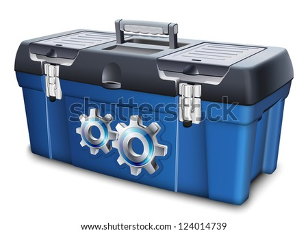 Tool box with gears label. Vector illustration - stock vector