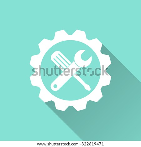 Tool   icon on green background. Vector illustration. - stock vector