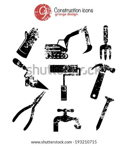 Tool icon set,black version,grunge vector - stock vector