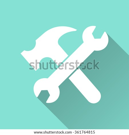 Tool   icon with long shadow, flat design. Vector illustration. - stock vector
