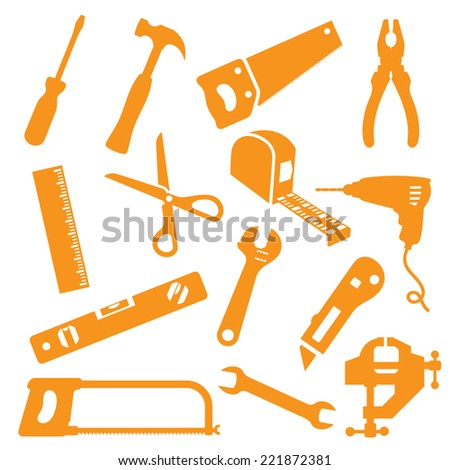 Tool icons. Easy to change color. - stock vector