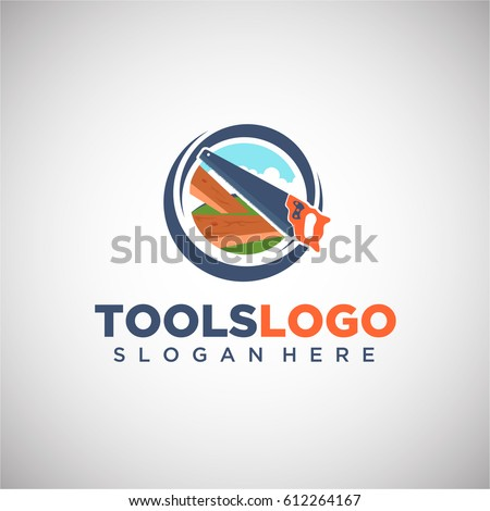 tool logo vector template saw conceptのベクター画像素材 612264167