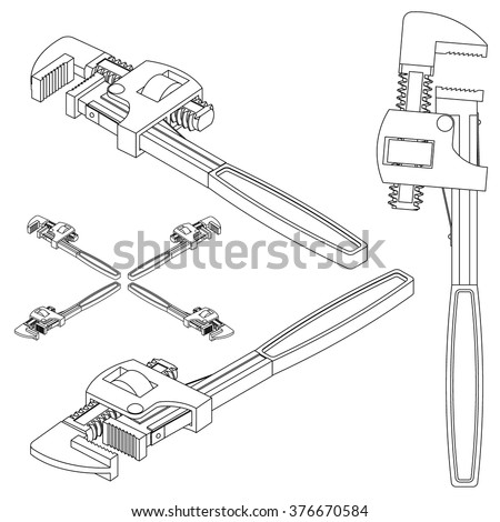 tool pipe wrench line drawing isometric stock vector