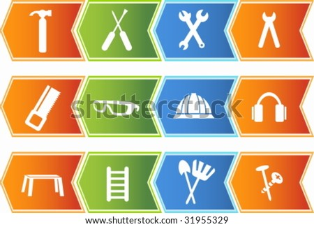 Tool Set Chevron - stock vector