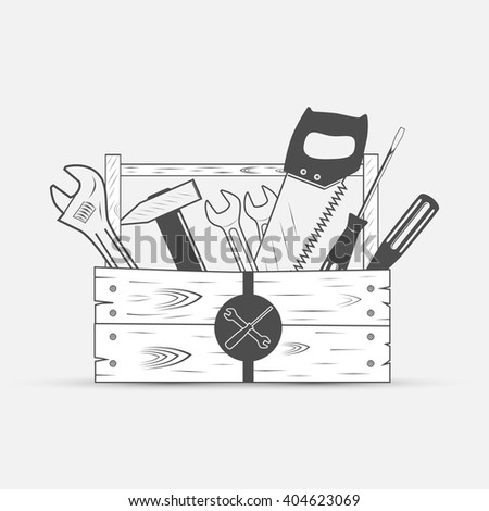 tool set in wood box, screwdriver, wrench, saw, hammer - vector illustration - stock vector