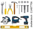 tool set vector - stock photo