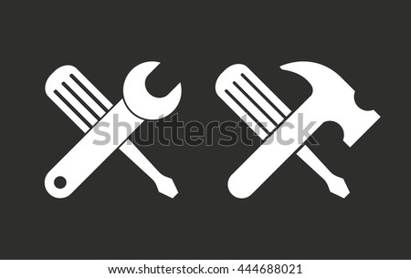 Tool vector icon. White illustration isolated on black background for graphic and web design. - stock vector