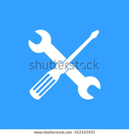 Tool vector icon. White Illustration isolated on blue background for graphic and web design. - stock vector