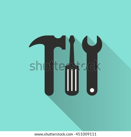 Tool vector icon with long shadow. White illustration isolated on green background for graphic and web design. - stock vector