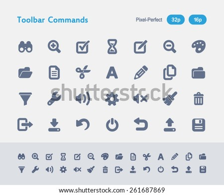 Toolbar Commands Icons. Antz Icon Series. Simple glyph style icons designed on a 32x32px grid and redesigned on a 16x16px grid. - stock vector