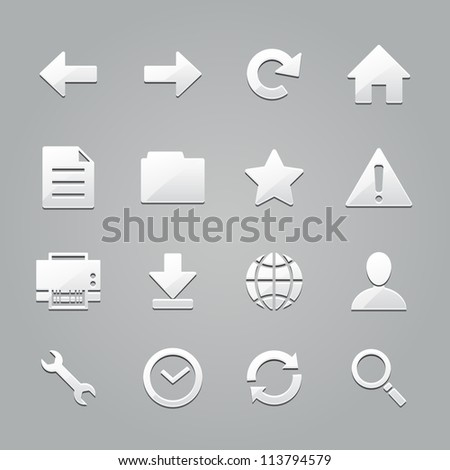toolbar icons : emboss style - stock vector