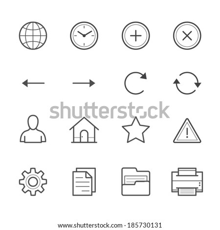 Toolbar Icons for Application and website - stock vector